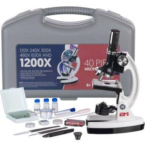 $42.99AMSCOPE 120X-1200X 儿童高倍启蒙教育生物显微镜 48件套套装