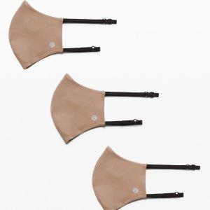 6.7折 $19收封面款口罩手慢无:Lululemon 均码可调节款双带口罩 3只装 亲肤高颜值