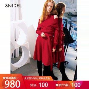 Snidel【预售】SNIDEL 2018秋冬新品 带收腰露肩针织连衣裙 SWNO185050