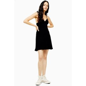Topshop褶皱小黑裙