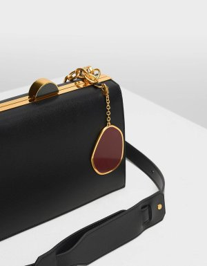 Black Stone Charm Push Lock Bag | CHARLES & KEITH US