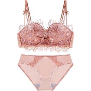 日系蕾丝内衣套装 粉色