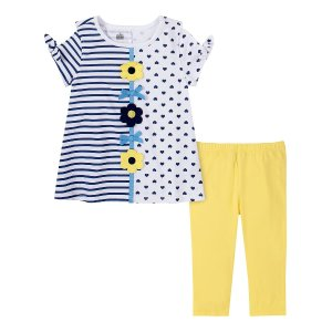 Kids HeadquartersBlue & Yellow Split Print Tie-sleeve Top & Yellow Leggings - Infant, Toddler & Girls