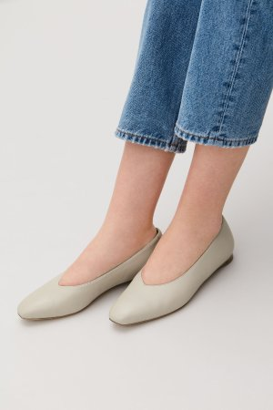 LEATHER BALLERINAS - Light beige - Shoes - COS