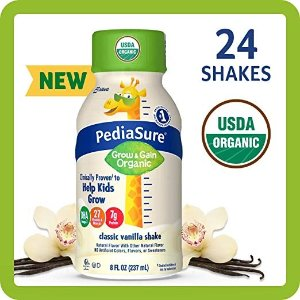 PediaSure20% off + 5% offOrganic Kid's Nutrition Shake, Non-GMO, No Artificial Flavors or Colors, No Artificial Growth Hormones, 7g Protein, 32mg DHA Omega-3, Vanilla, 8 fl oz, 24 Count