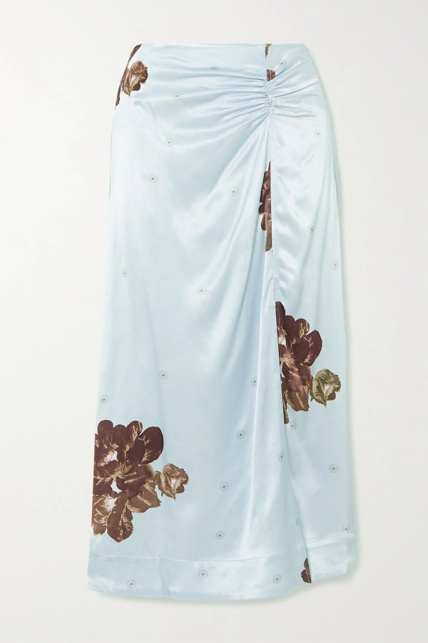 Floral-print ruched 丝质半裙
