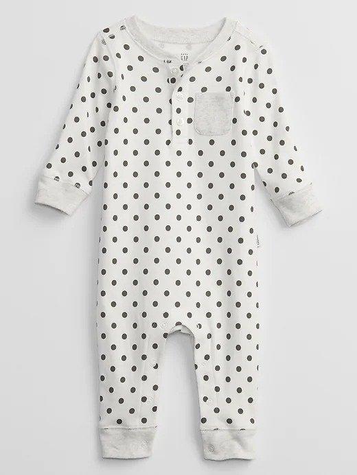 婴儿波点连体服
