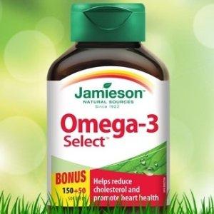 $7.58(原价$9.58) 一天只要$0.08Jamieson Omega-3 Select深海鱼油200粒装 1000mg含量