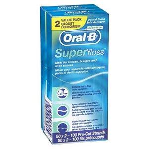 $4.12 牙套星人的福音Oral-B 超级牙线 50支 x 2盒