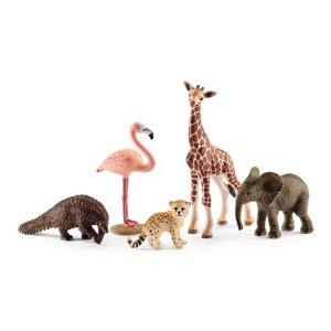 Schleich Wild Life, Wildlife Animal Assortment (Giraffe, Anteater, Elephant, Cheetah, Flamingo) Toy Figures