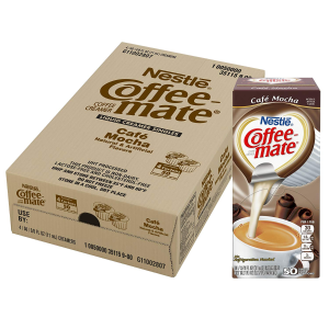 $13.8NESTLE COFFEE-MATE Coffee Creamer, Cafe Mocha, liquid creamer singles, 50 Count (Pack of 4)
