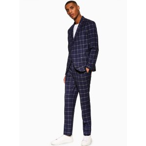 Topman2 Piece Navy Windowpane Check Tailored Fit Suit With Notch Lapels