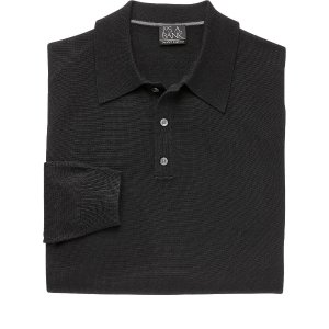 Traveler Collection Traditional Fit Long Sleeve Merino Polo - Big & Tall CLEARANCE - Seasonal Deals | Jos A Bank