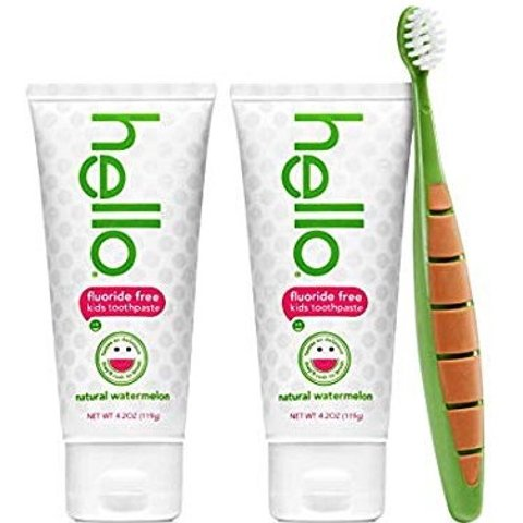 Amazon Hello Oral Care Kids Fluoride Free and SLS Free Toothpaste Twin Pack with BPA-Free Kids & Toddler Toothbrush