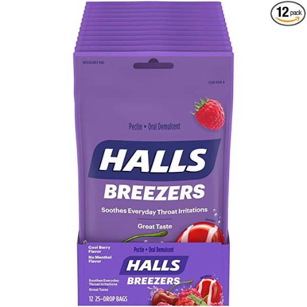 凉爽莓子味润喉糖 25颗装 12包