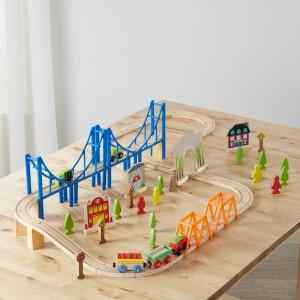 $14.82补货:Spark. Create. Imagine. 木质火车轨道套装,含75件