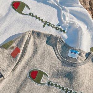 2折起 €23收奶油橘T恤Champion 折扣区大促上新 超多配色logo卫衣、T恤 可配情侣