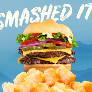 two for $5Today Only: Smashburger Double Classic Smash on a Pretzel Bun