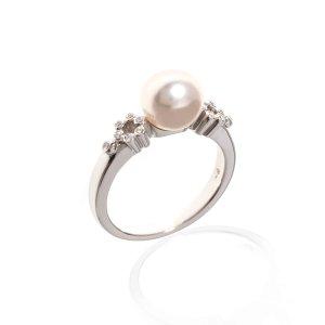 Mikimoto18k White Gold Diamond And Pearl Statement Ring Size 6.5. 1403/19-13