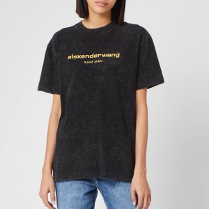 Alexander WangWomen's Acid Wash Short Sleeve T-Shirt with Logo Embroidery - Acid Black