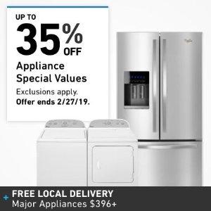 低至65折,全场免运费lowe's Appliances 家电大促销 冰箱、洗衣机、煤气灶好价