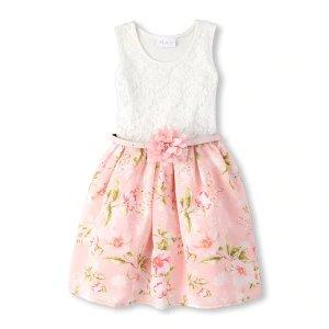 The Children's PlaceGirls Sleeveless Floral Lace Belted Woven Dress