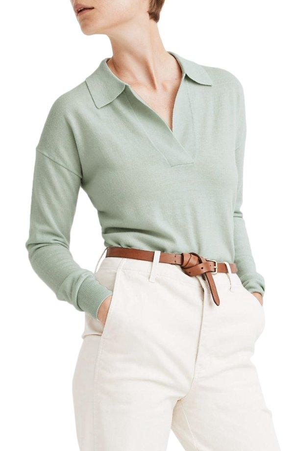 薄荷绿polo领纯羊毛毛衣