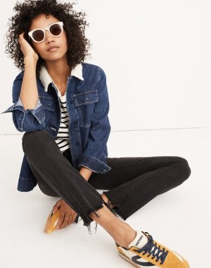 Cali Demi-Boot Jeans in Berkeley Black: Chewed-Hem Edition