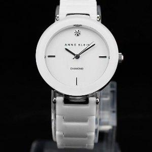 4.7折 $69.32(原价$148.99)史低价:Anne Klein 女士陶瓷钻石表盘白色手表