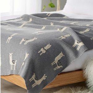 130 x 150 cm羊驼 纯棉针织毯