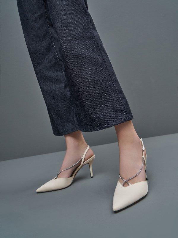 水晶链高跟鞋