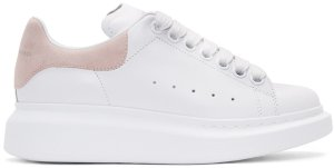 Alexander McQueen: White & Pink Leather Sneakers | SSENSE