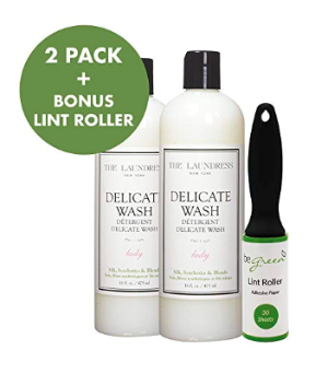 The Laundress Delicate Wash with Bonus Lint Roller (2 Pack) - Lady Scent, 16 fl Ounces - Highly Concentrated Laundry Detergent for Delicates, Silk, Synthetics, Polyester - 64 Washes