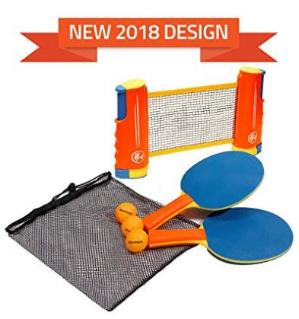史低价$7.99(原价$19.99)最新款设计Harvil 便携式可伸缩乒乓球网套装