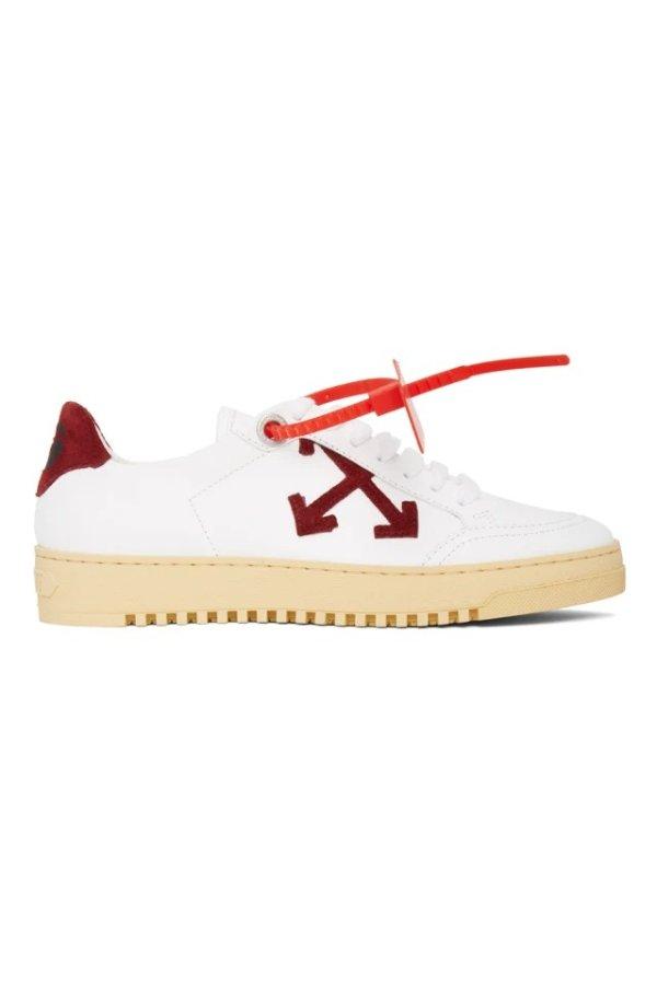 White & Burgundy 2.0 平底鞋