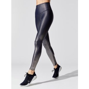 Spot On High Waisted Midi 7/8 Length Leggings in Nocturnal Navy-gunmetal Spot On