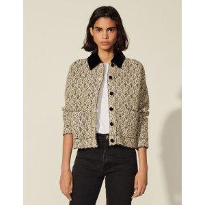 SandroLurex tweed jacket with contrast collar
