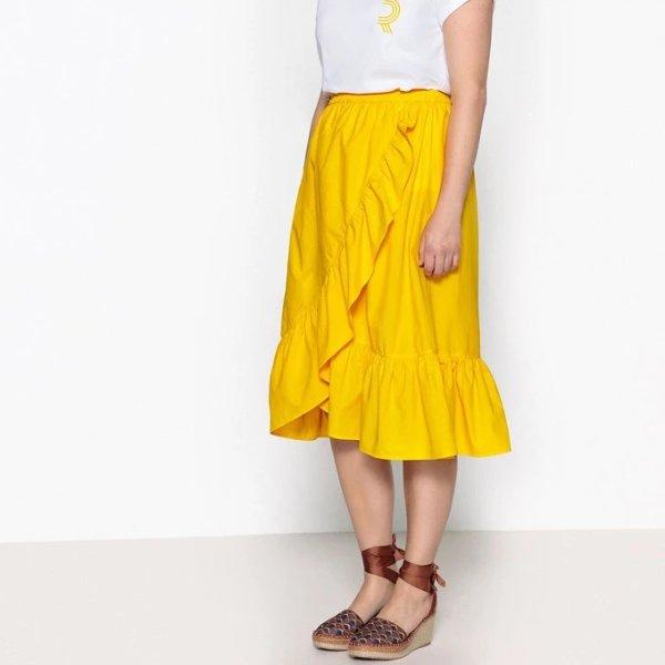 黄色不规则下摆半裙