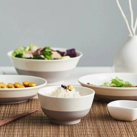 磨砂撞色陶瓷餐具10件套