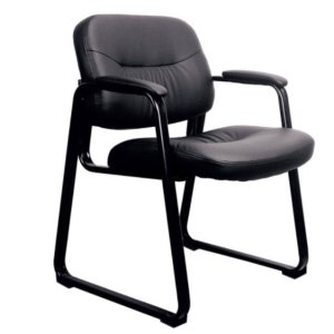 51 Essentials by OFM ESS-9015 Leather Executive Side Chair with Sled Base, Black, Reception Waiting Room Chair