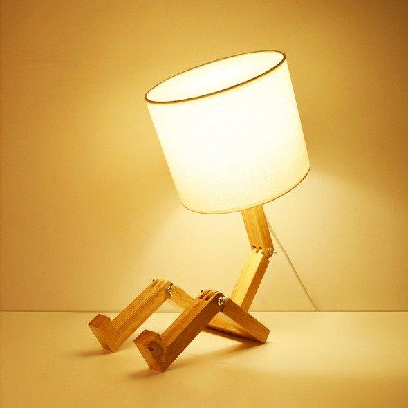 QwTech 个性简约创意小人偶实木台灯床头灯 双腿小人台灯 可移动关节 - 亚米网