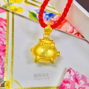 24K千足金 小猪吊墜 (3D硬金)