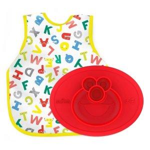 $27.99 (原价$34.99) 包邮ezpz 婴幼儿一体式餐盘垫+围兜套装 芝麻街新款