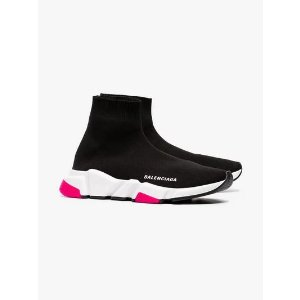 Balenciagablack, white and pink speed knitted high top sneakers