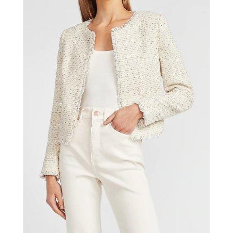 Open Front Tweed Boucle Blazer