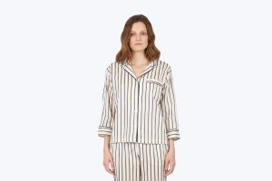 Marina Pajama Shirt Sateen Presley White, Navy & Yellow - Women's Tops | Sleepy Jones
