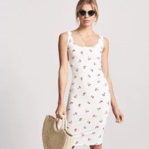 Forever21Cherry Graphic Bodycon Dress