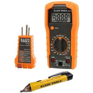Klein Tools 非接触式测电笔+插座测电器+万用测电表套装