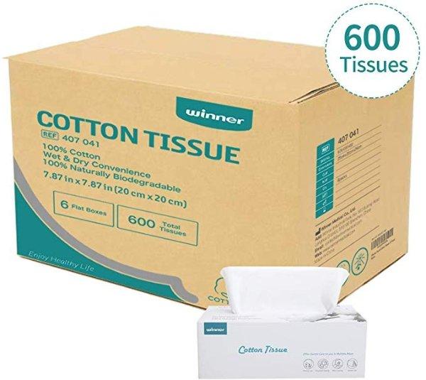 全棉时代纯天然干湿两用棉柔巾 6盒600张
