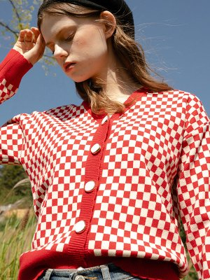 Wave Check Cardigan Knit Red Check | W Concept